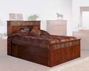 Petite Bed w/ Storage Headboard Santa Fe by Sunny Designs SU-2333DC-S