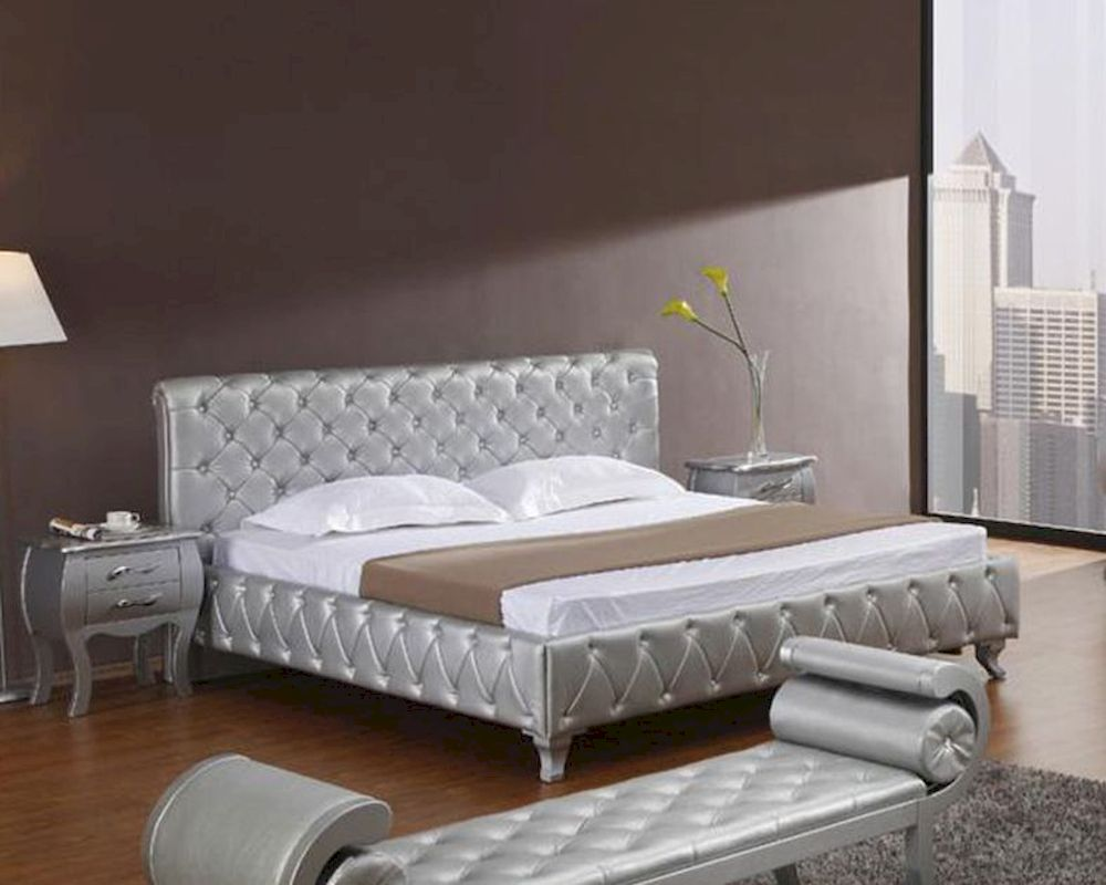 Platinum dition Bedroom Set w/ Modern Bed with rystals 44B196S - ^
