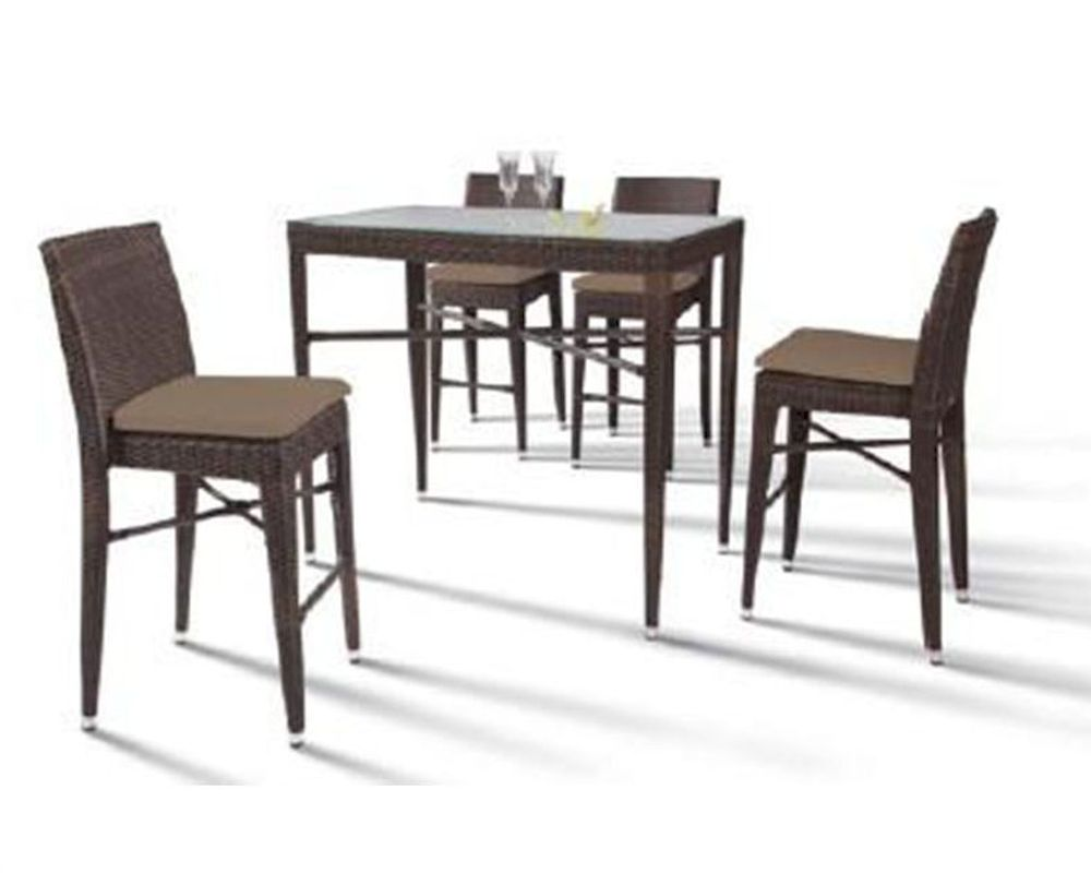 Rectangular Patio Bar Table and Four Bar Chairs 44PH25 M