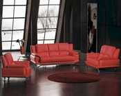 Red Bonded Leather Sofa Set 44L2818