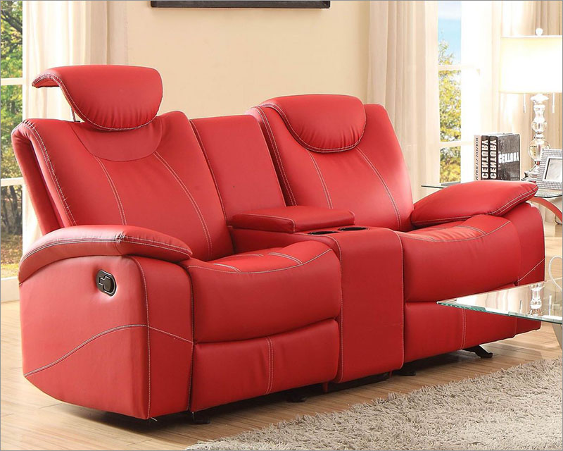 Red Double Glider Reclining Loveseat Talbot By Homelegance