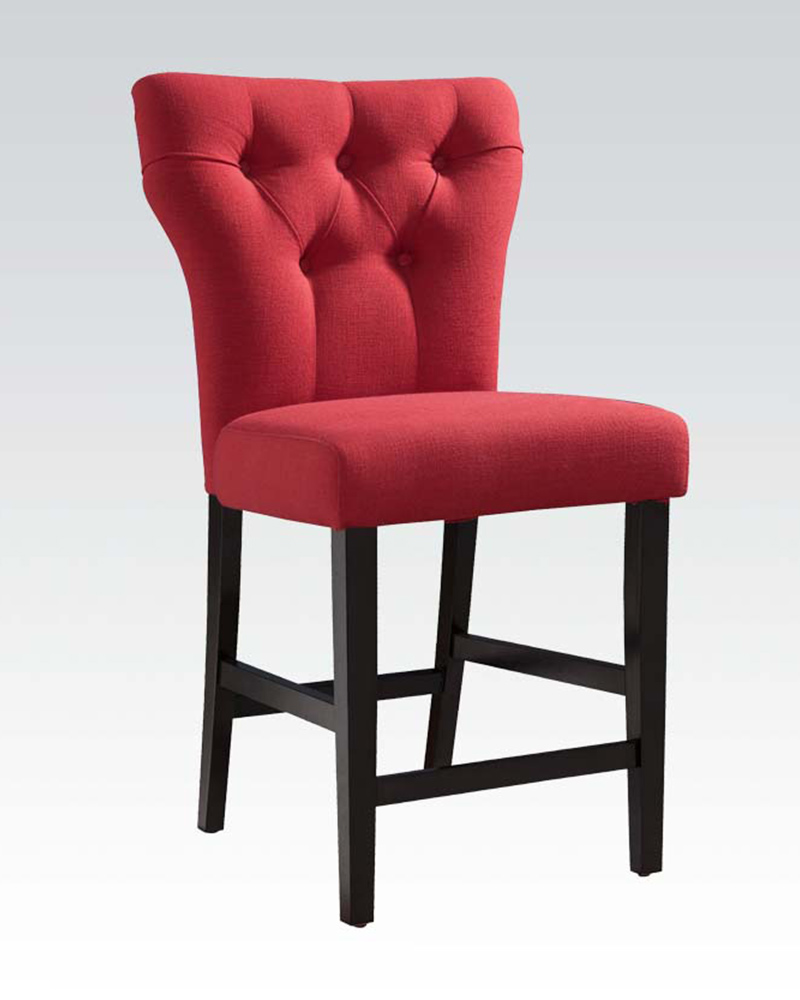 Red Linen Counter Height Chair Effie By Acme Ac71525 Set