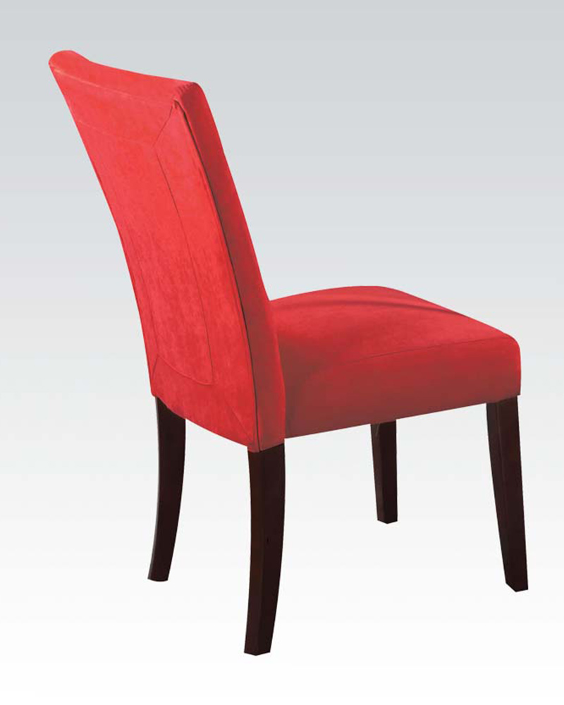 Red Microfiber Side Chair Baldwin By Acme Ac16835 Set Of 2