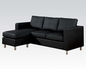 Reversible Chaise Sectional Sofa Kemen Black by Acme Furniture AC15065