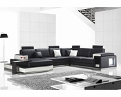 Sectional Sofa in Bonded Leather w/ Light 44L6060