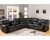 Sectional Sofa Set in Black Bonded Leather MCFSF3591-SET