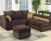 Sectional Sofa w/ Ottoman in Chocolate Caisy by Acme Furniture AC15230