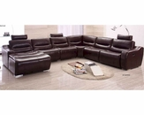 Sectional Sofa w/ Recliner in Brown Finish 33LS271