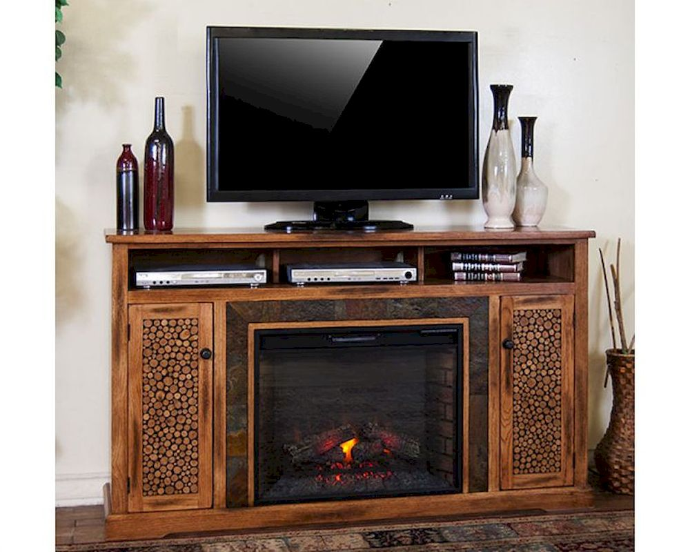 Sedona Fireplace TV Console by Sunny Designs SU-3489RO-66R - Fireplace TV Stands