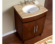 "Silkroad 26"" Single Sink Cabinet Travertine Top, White Sink"