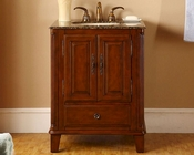 "Silkroad 28"" Single Sink Cabinet Brown Granite Top, Ivory Sink"