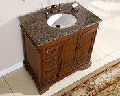 "Silkroad 36"" Single Sink Cabinet Baltic Brown Granite Top"