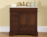 "Silkroad 36"" Single Sink Cabinet Crema Marfil Top, Ivory Sinks"