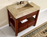 "Silkroad 36"" Single Sink Cabinet Kashmir Gold Granite Top"