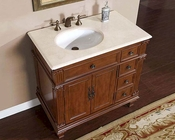 "Silkroad 36"" Single Sink Cabinet (Left Sink) Marble Top"