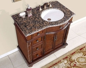 "Silkroad 36"" Single Sink Cabinet (Right Sink) Baltic Brown Top"