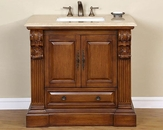 "Silkroad 38.5"" Single Sink Cabinet Travertine Top, White Sinks"