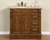 "Silkroad 38"" Single Sink Cabinet (Left) Travertine Top"