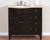 "Silkroad 38"" Single Sink Cabinet (Left) Travertine Top, Ivory Sinks"