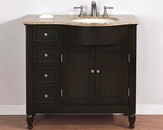 "Silkroad 38"" Single Sink Cabinet (Right) Travertine Top,Ivory Sinks"