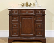 "Silkroad 40"" Single Sink Cabinet Cream Marfil Marble Top"