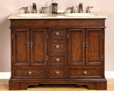 "Silkroad 48"" Double Bathroom Vanity Travertine Top, Ivory Sinks"
