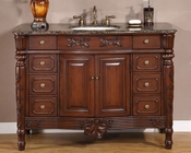 "Silkroad 48"" Single Sink Cabinet Baltic Brown Top, Ivory Sink"
