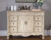 "Silkroad 48"" Single Sink Cabinet Travertine Top, Ivory Sink"