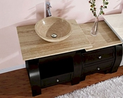 "Silkroad 49"" Single Sink Cabinet 7/8"" Travertine Top w/Drawer Bank"