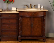 "Silkroad 52"" Single Sink Cabinet Travertine w/Drawer Bank, LED Lights"