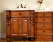 "Silkroad 53"" Single Sink Cabinet Crema Marfil Top w/Drawer Bank"