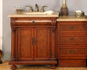 "Silkroad 53"" Single Sink Cabinet Travertine w/Drawer Bank, LED Lights"