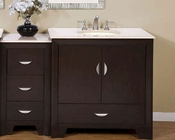 "Silkroad 54"" Single Sink Cabinet w/Drawer Bank Cream Marfil Top"