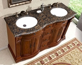 "Silkroad 55"" Double Bathroom Vanity Brown Granite Top, White Sinks"