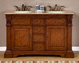 "Silkroad 55"" Double Bathroom Vanity Travertine Top"