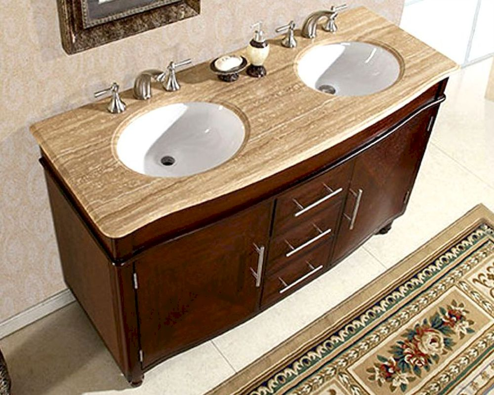 "Silkroad 55"" Double Bathroom Vanity Travertine Top, White ..."