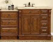 "Silkroad 58"" Single Sink Cabinet (Left) Travertine Top w/Drawer Bank"