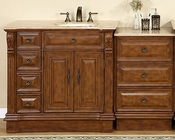 "Silkroad 58"" Single Sink Cabinet (Right) Travertine Top w/Drawer Bank"