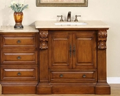 "Silkroad 58"" Single Sink Cabinet w/Drawer Bank Travertine Top"