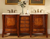 "Silkroad 67"" Double Sink Cabinet Crema Marfil Top"