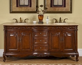 "Silkroad 72"" Double Sink Cabinet Ivory Ceramic Sinks,Travertine Top"