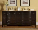 "Silkroad 72"" Double Sink Cabinet Travertine Top"
