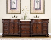 "Silkroad 90"" Double Sink Cabinet w/Drawer Bank Crema Marfil Top"