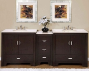 "Silkroad 90"" Double Sink Cabinet w/Drawer Bank Marble Top"