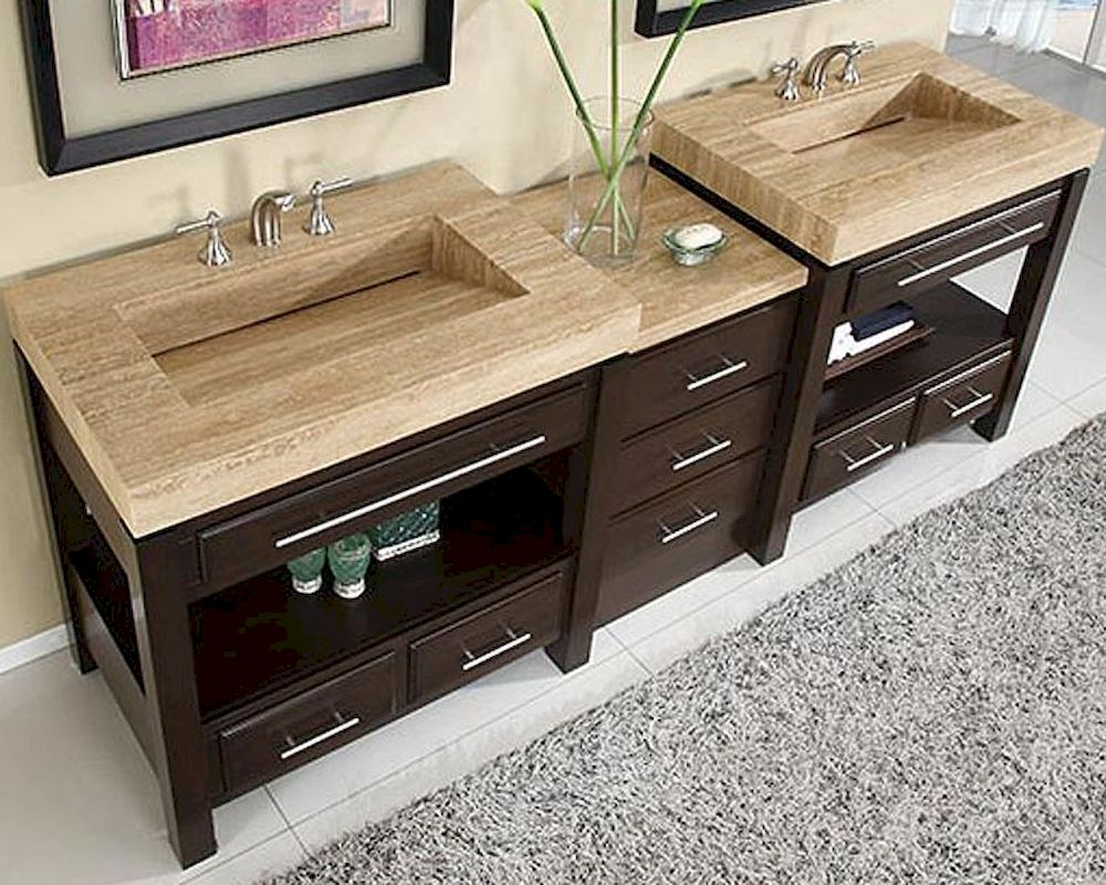 Silkroad 92 Double Sink Cabinet W Drawer Bank Vanity Top Sinks