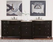 "Silkroad 95"" Double Sink Cabinet w/Drawer Bank Travertine Top"