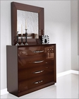 Single Dresser and Mirror Modern Style in Walnut Carmen 33191CR