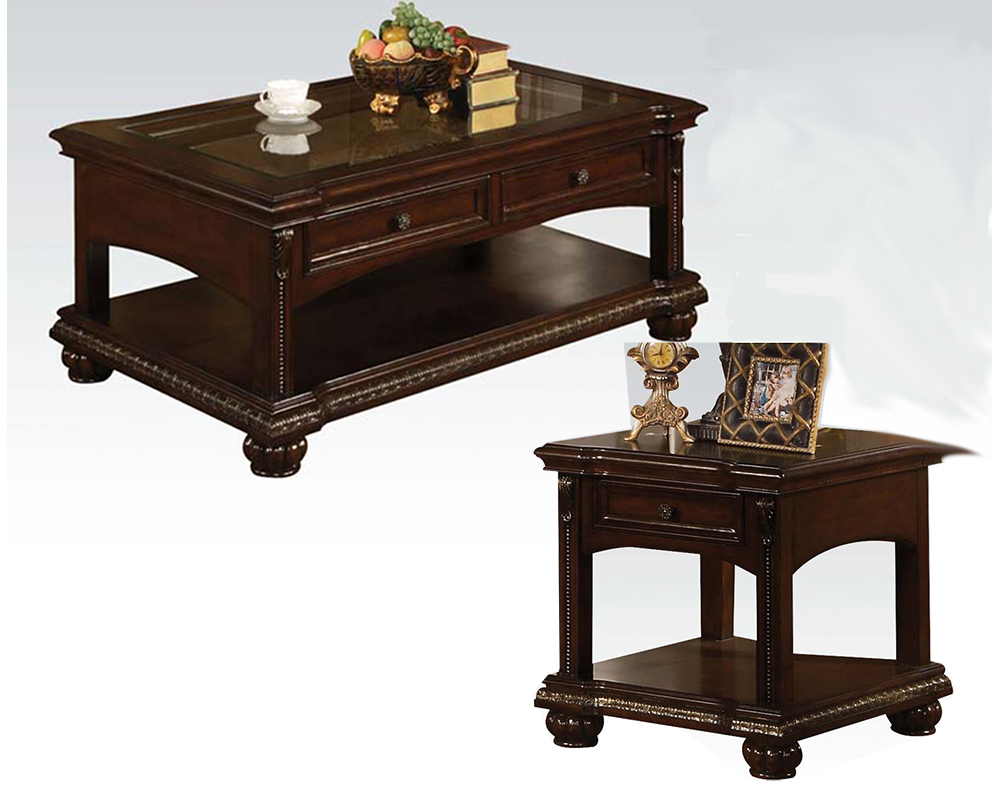 Traditional Coffee Table Set In Cherry Anondale By Acme