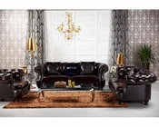 Transitional Chocolate Italian Leather Sofa Set 44L6080