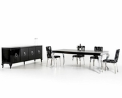 Transitional Design Black Dining Set w/ Silver Legs Table 44D830-22SET